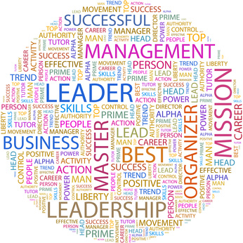 LEADER. Word collage on white background.